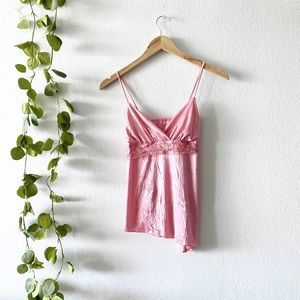 Y2K Aesthetic Pink Asymmetrical Sparkly Camisole